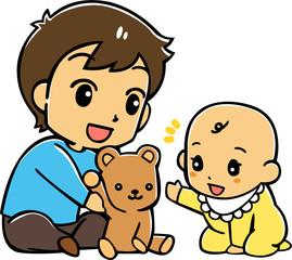 赤ちゃんと遊ぶお父さん
