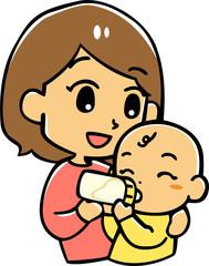 ミルクを飲む赤ちゃん(白背景)