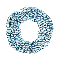 o lettera zaffiro blu azzurro gemme 3d, sfondo bianco