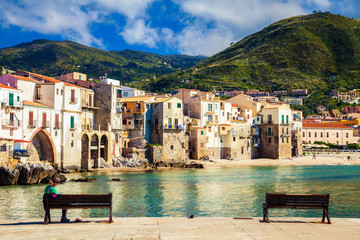 benches in the port of Cefalu