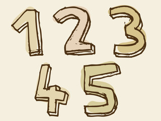 12345 brown stained set of numbers