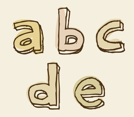 abcde lowercase stained alphabet letter set