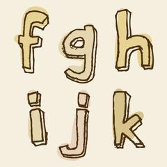 fghijk uppercase stained alphabet letter set