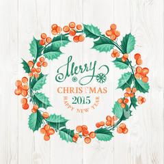 Merry christmas wreath.