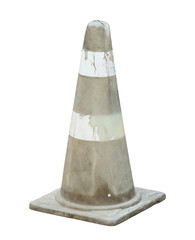 Colorless traffic cone (with clipping path) isolated on white