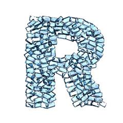 r lettera zaffiro blu azzurro gemme 3d, sfondo bianco