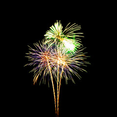 colorful fireworks over dark sky background