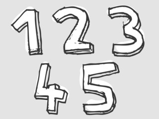 12345 white stained set of numbers