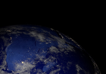 Earth from space at night. Other orientations available