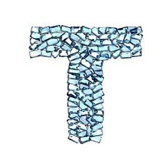 t lettera zaffiro blu azzurro gemme 3d, sfondo bianco