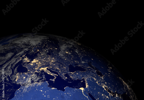 Earth from space at night. Other orientations available.