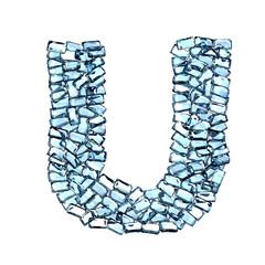 u lettera zaffiro blu azzurro gemme 3d, sfondo bianco