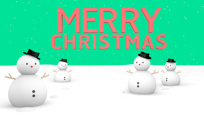 Merry Christmas Snow Green background