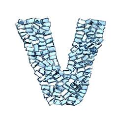 v lettera zaffiro blu azzurro gemme 3d, sfondo bianco