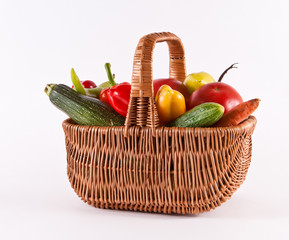 Basket with fresh vegetables