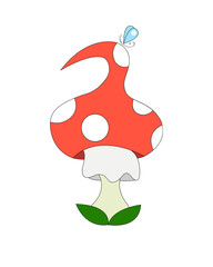 Mushroom-amanita with butterfly
