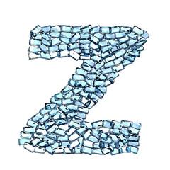 Z lettera zaffiro blu azzurro gemme 3d, sfondo bianco