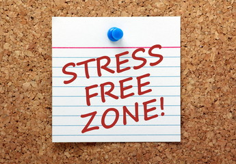 The phrase Stress Free Zone on a note pinned to a notice board