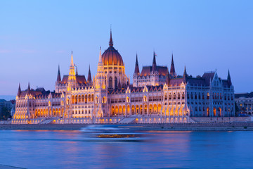 Parliament of Budapest, Hungary at sunset