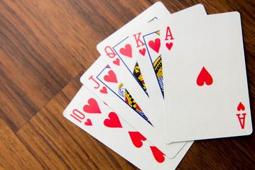 playing cards - royal flush hearts