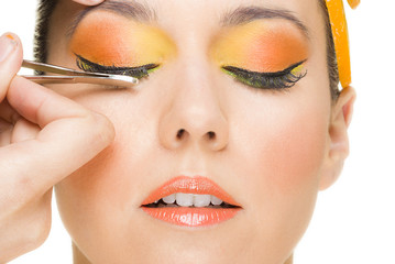 Orange makeup women