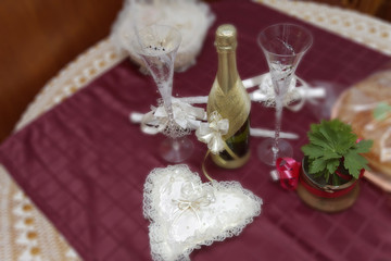 bolltes of champagne and glass