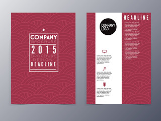 red oriental pattern flyer design template vector a4