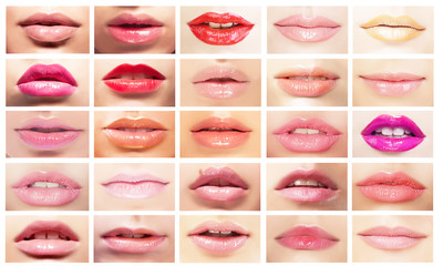Female's Mouths. Set of Women's Lips. Bright Makeup & Cosmetics