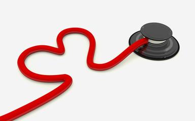 stethoscope heart shaped isolated on white background.