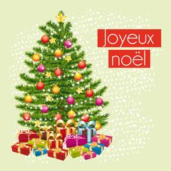 Joyeux noël. Carte de vœux pastel cadeaux sous le sapin.