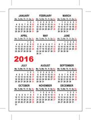 Pocket calendar 2016 template