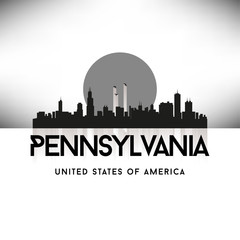 Pennsylvania USA Skyline Silhouette Black vector