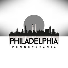 Philadelphia Pennsylvania USA Skyline Silhouette Black vector