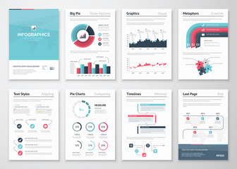 Big set of infographic vector elements and business brochures