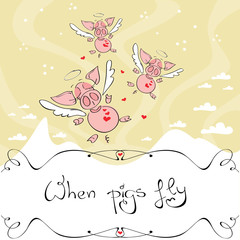 Vector illustration of cute winged pigs flying in the sky