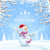 Fototapety Christmas background with snowman