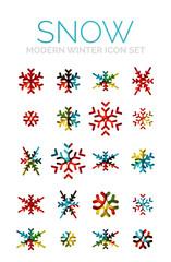 Set of Christmas snowflake icons