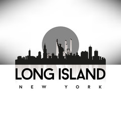 Long Island New York USA Skyline Silhouette Black vector