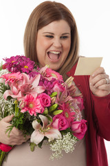 Happy woman with love card