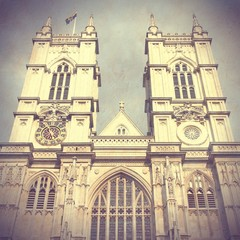 London retro - Westminster Abbey. Cross processed color tone.