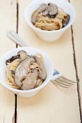 Italian spaghetti pasta and mushrooms