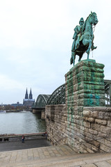 Cityscape of Cologne from the Rhine river bridge