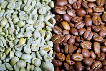 Green and black coffee beans