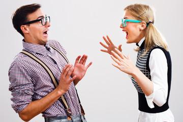 Nerdy couple having conflict