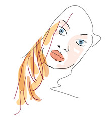 Hand Draw Woman Face - sketch vector illustration