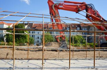 Neubau Fundament mit Bagger