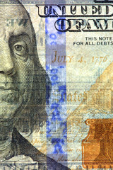 Watermark on new hundred dollar bill