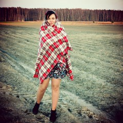 Young woman cold weather field