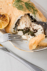 whole fish prepared in crust with citron