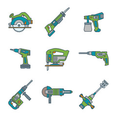 vector color outline house repair electric devices icons